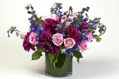 Dahlias, Roses & Delphinium