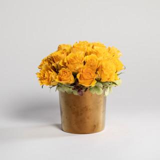 Short yellow rose arrangement
