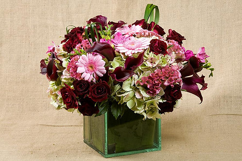 Burgundy Roses, Calla Lilies & Fuchsia