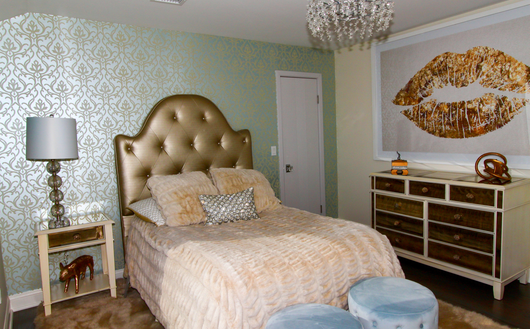 Chic Guest Bedroom with Custom Bedframe.