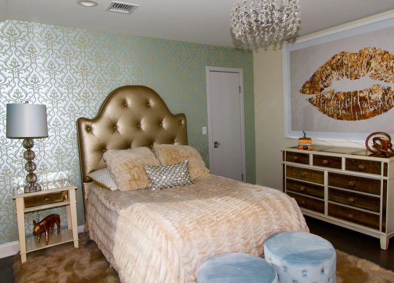 Chic Guest Bedroom with Custom Bedframe.