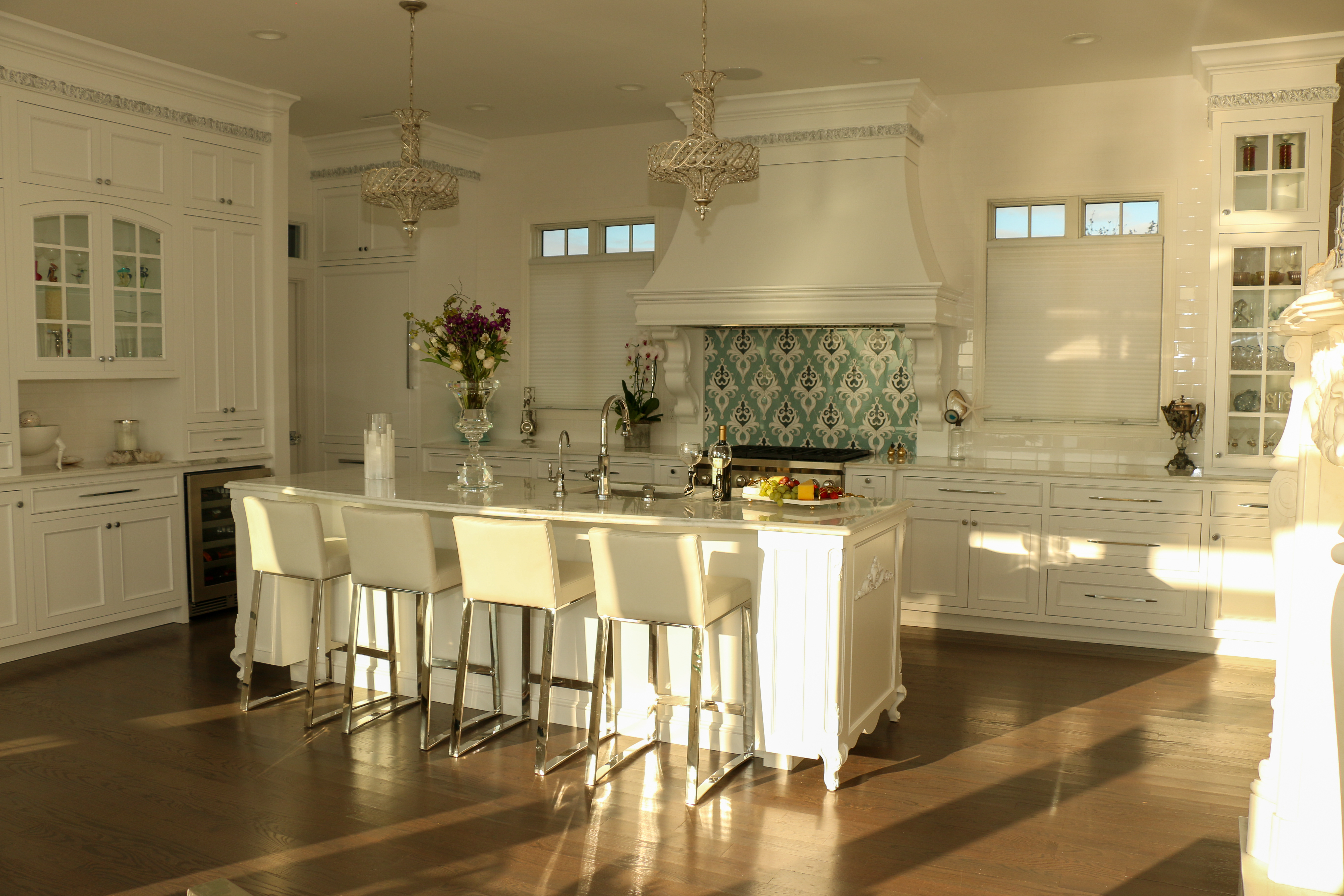 White Coastal Kitchen Center Island