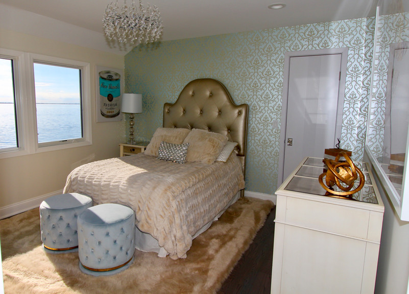 Guest Bedroom with Blue and Gold Accents