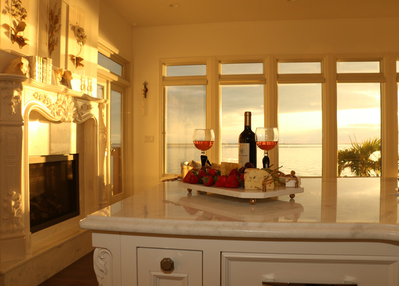 Coastal Kitchen with Fireplace and Cente