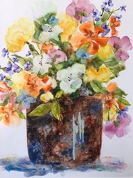 Flower Flow. 11x14 plus frame. Watercolo