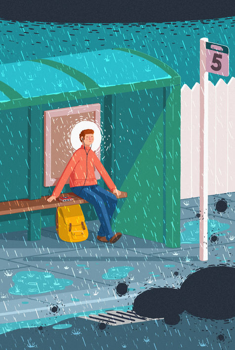 Bus Stop in the Rain