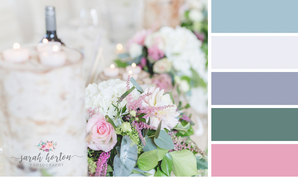 West Tower Cheshire Wedding Photography Colour Palette Pinks and Greens