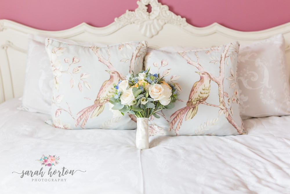 bridal flowers on bed at sandhole oak barn