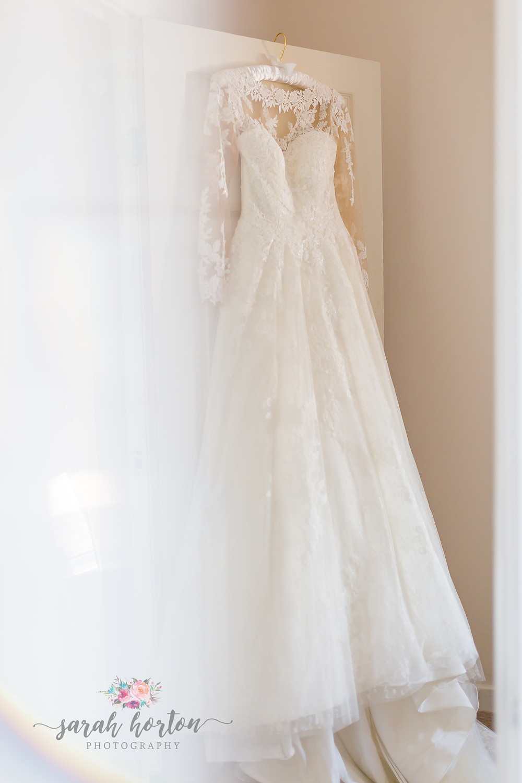 photo of bridal dress at cheshire wedding