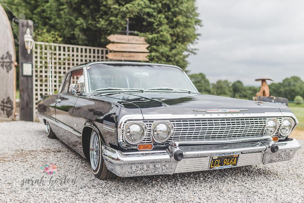 chevy impala at alcumlow wedding barn