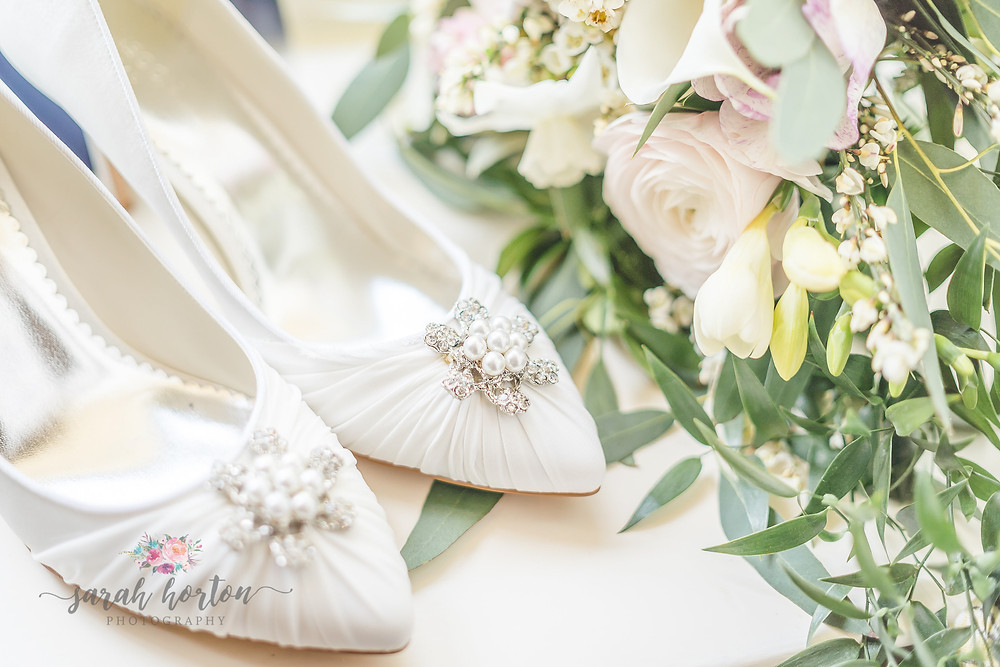 bridal shoes with flowers by abbey wood estate