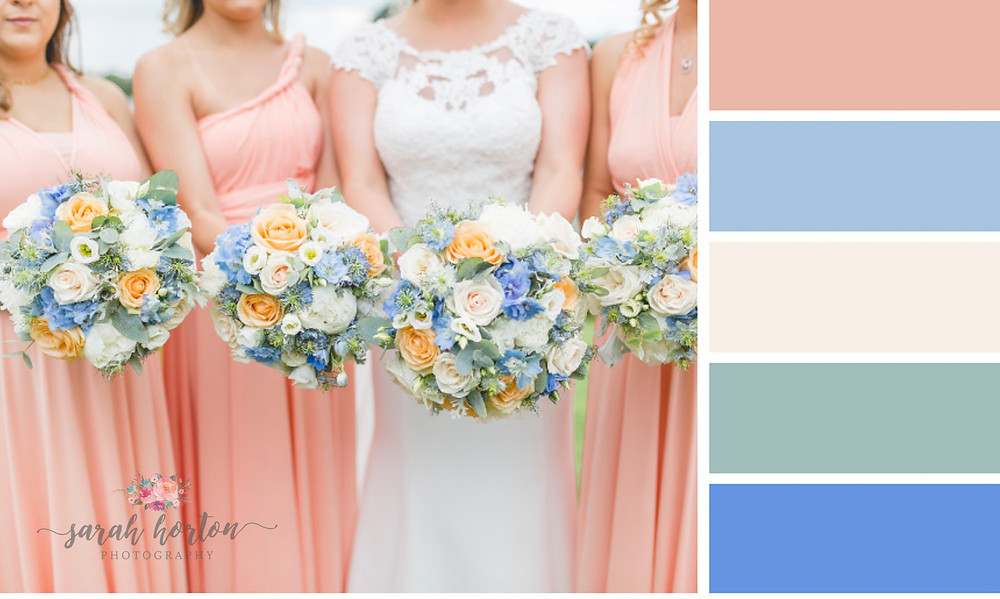 Sandhole Oak Barn Cheshire Wedding Photography Colour Palette Blue and Peach
