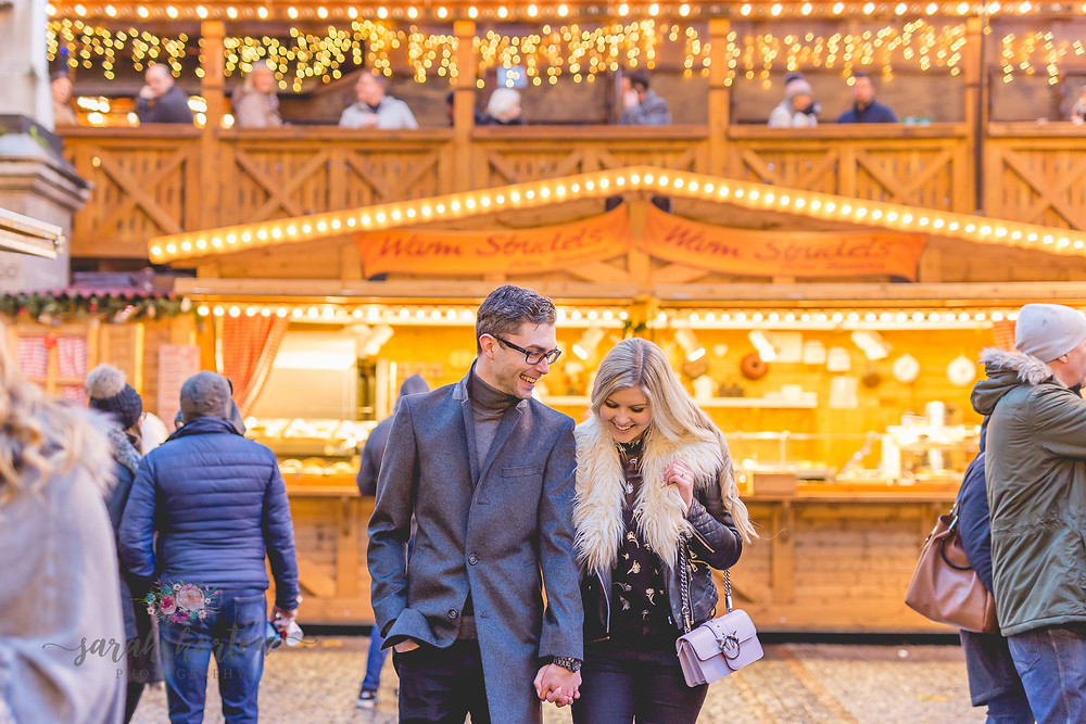 manchester christmas markets pre wedding shoot