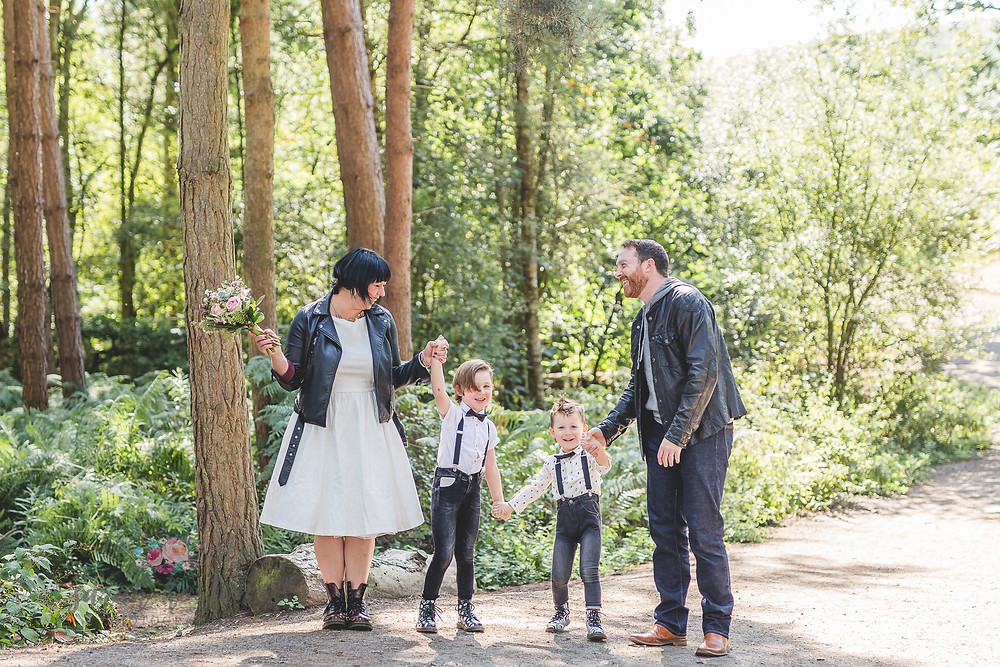family celebrate wedding vows