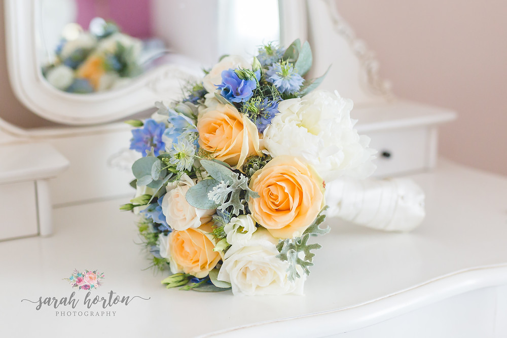 bridal bouquet on dressing table at sandhog