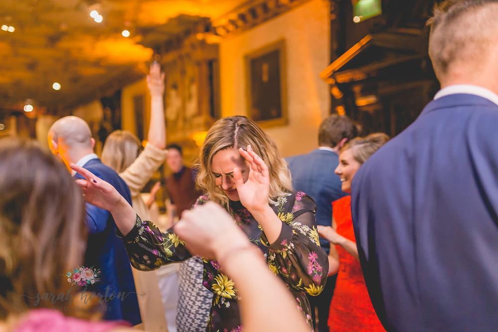 Dance floor at Crewe Hall, Cheshire Wedding Photography by Sarah Horton