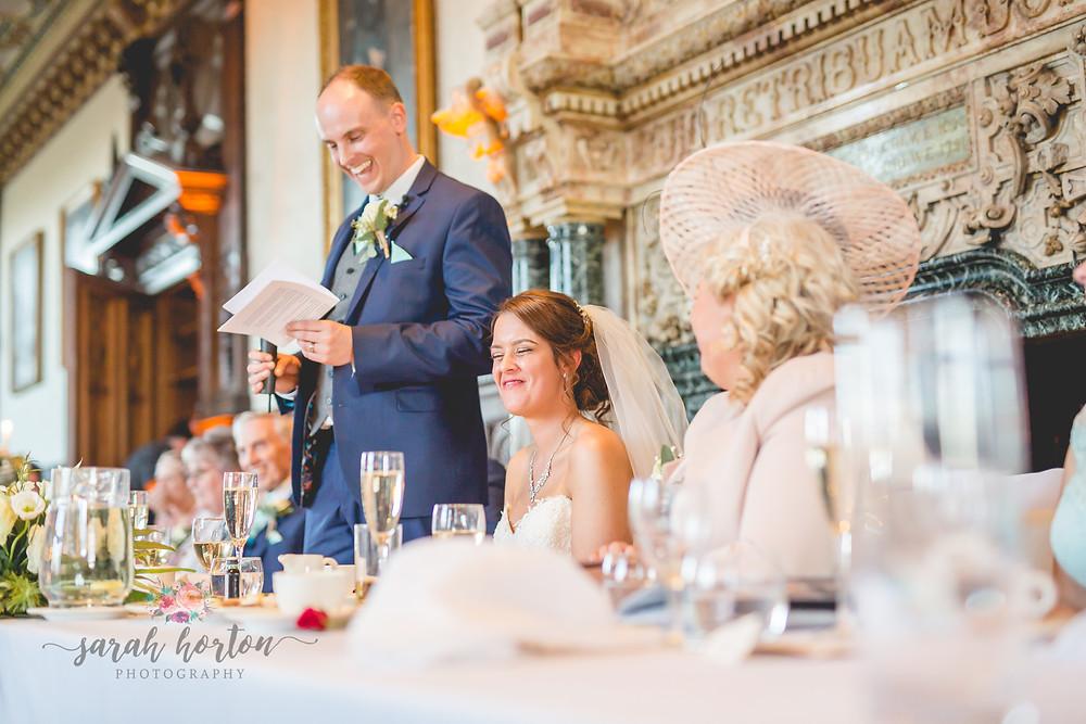 Speeches at Crewe Hall, Cheshire Wedding Photography by Sarah Horton