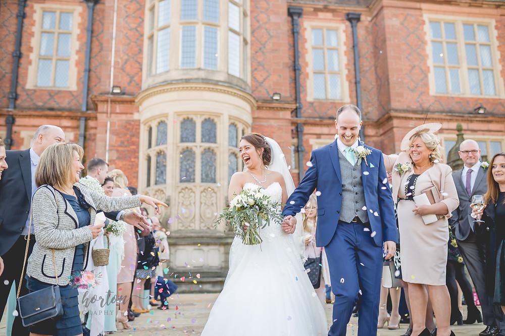 Confetti at Crewe Hall Wedding, Cheshire, Sarah Horton Photography