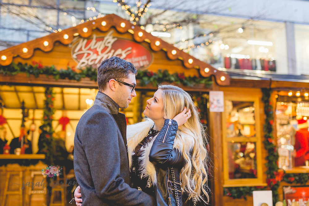 pre wedding photo shoot at manchester christmas markets
