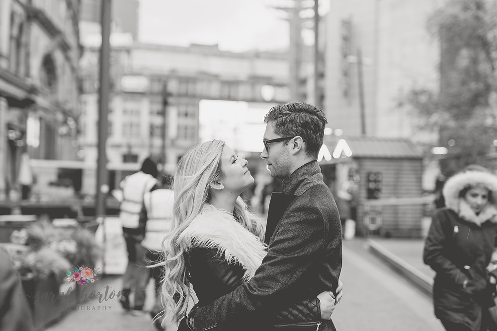engagement photoshoot in manchester city centre
