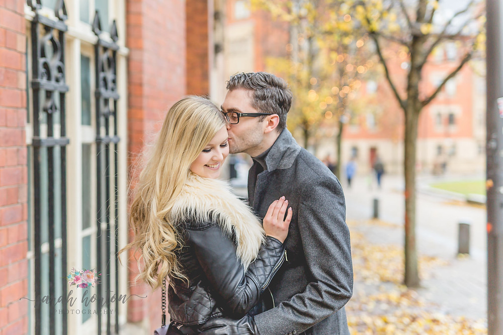 Manchester wedding photography engagement shoot in the city centre
