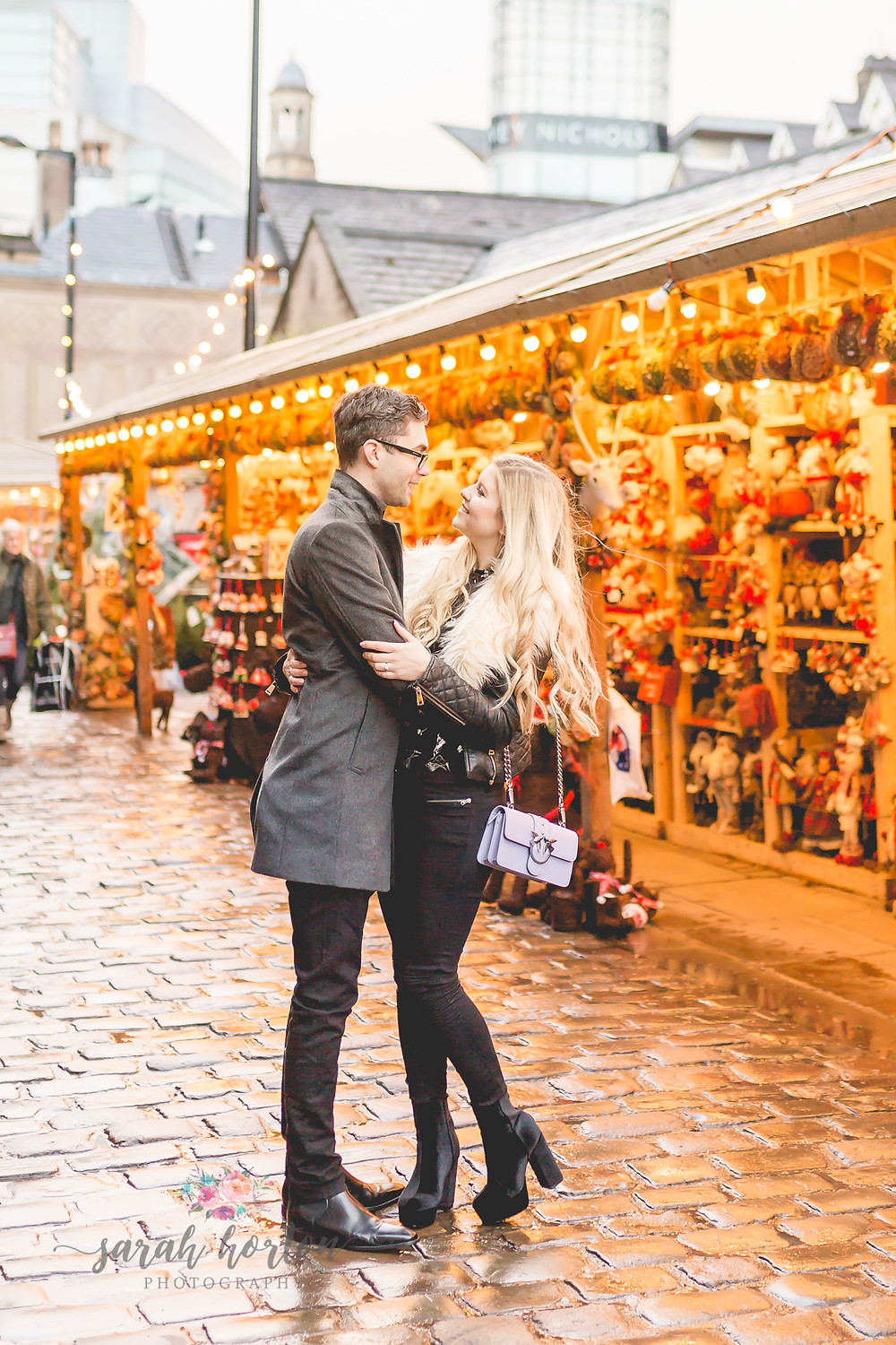 manchester christmas markets pre wedding photography
