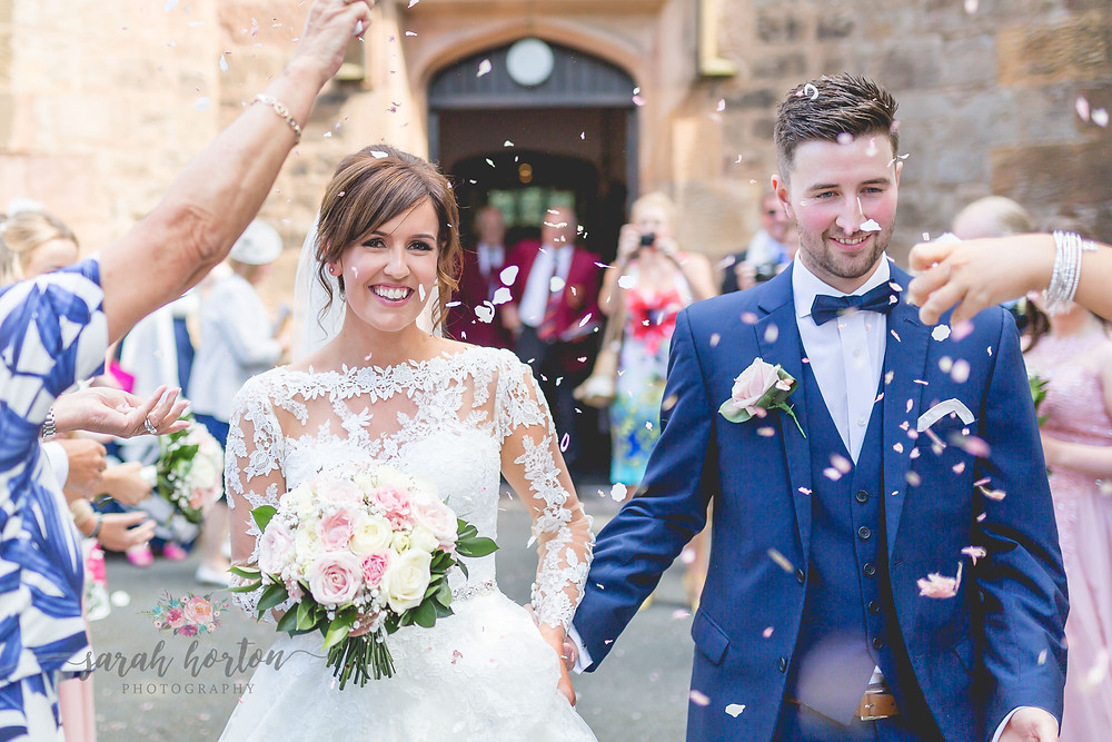 confetti at church by chester wedding photographer