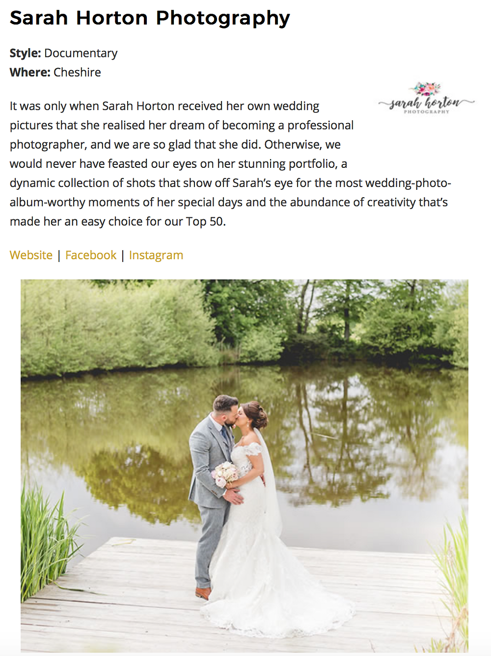 Cheshire Wedding Photographer Sarah Horton named one of Top 50 Best Wedding Photographers in the UK