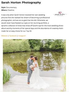 Cheshire Wedding Photographer Sarah Horton named one of Top 50 Best Wedding Photographers in the UK