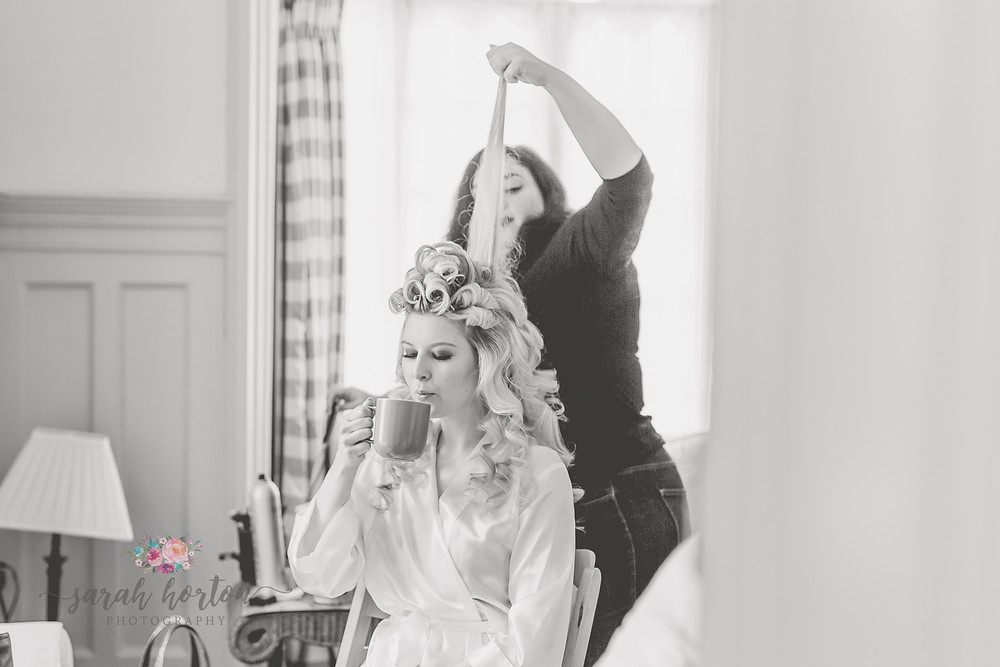 Combermere Abbey Cheshire Wedding Photography Bridal Prep with the vintage beauty parlour
