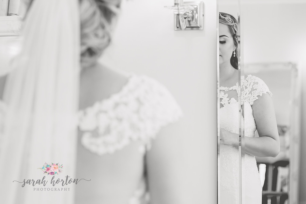 bride in the mirror at sandhole oak barn