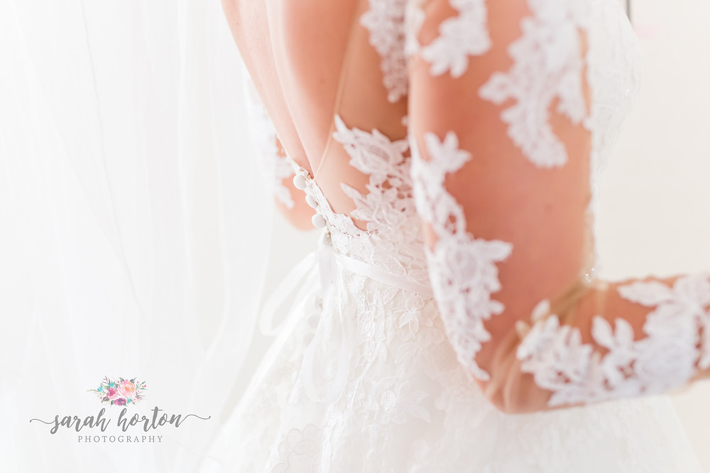 bridal dress details by cheshire wedding photographer