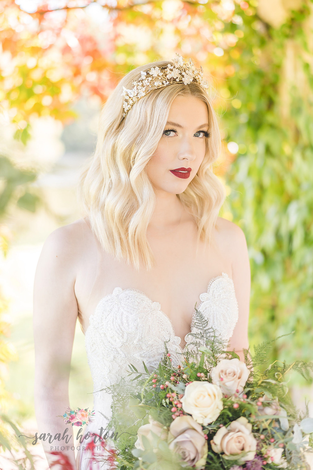 soft autumn bridal with rose gold crown from the bridal lounge
