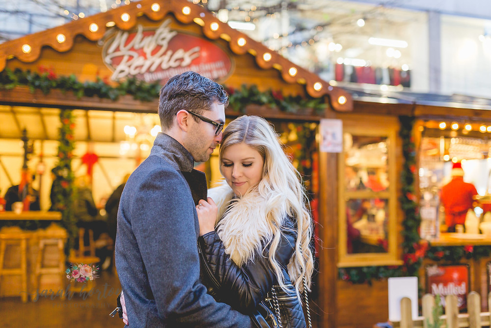 love in manchester christmas markets pre wedding photo