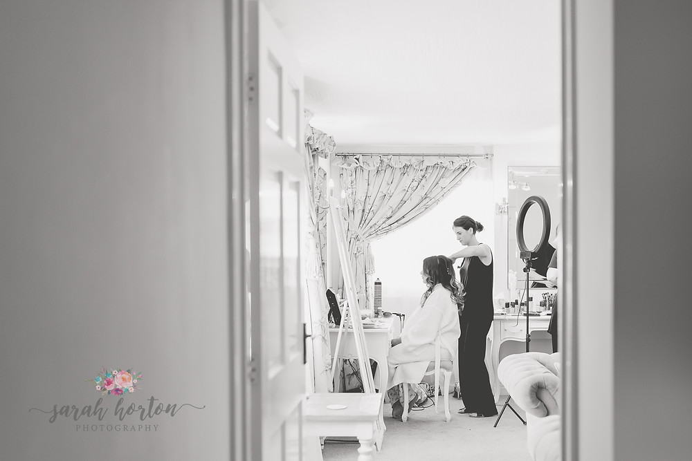 bridal prep at sandhole oak barn cheshire wedding photography