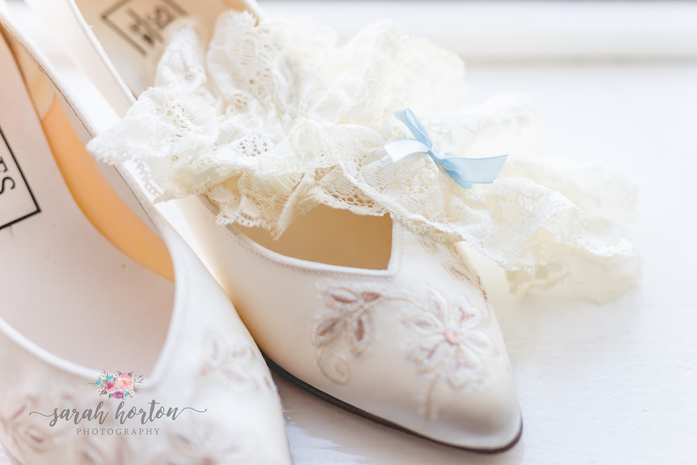 photo of bridal shoes at chester wedding