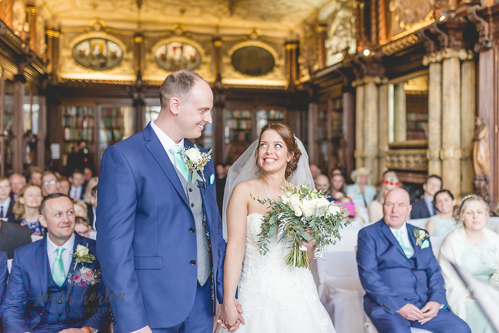 Civil Ceremony in the Library at Crewe Hall Wedding, Photography in Cheshire by Sarah Horton