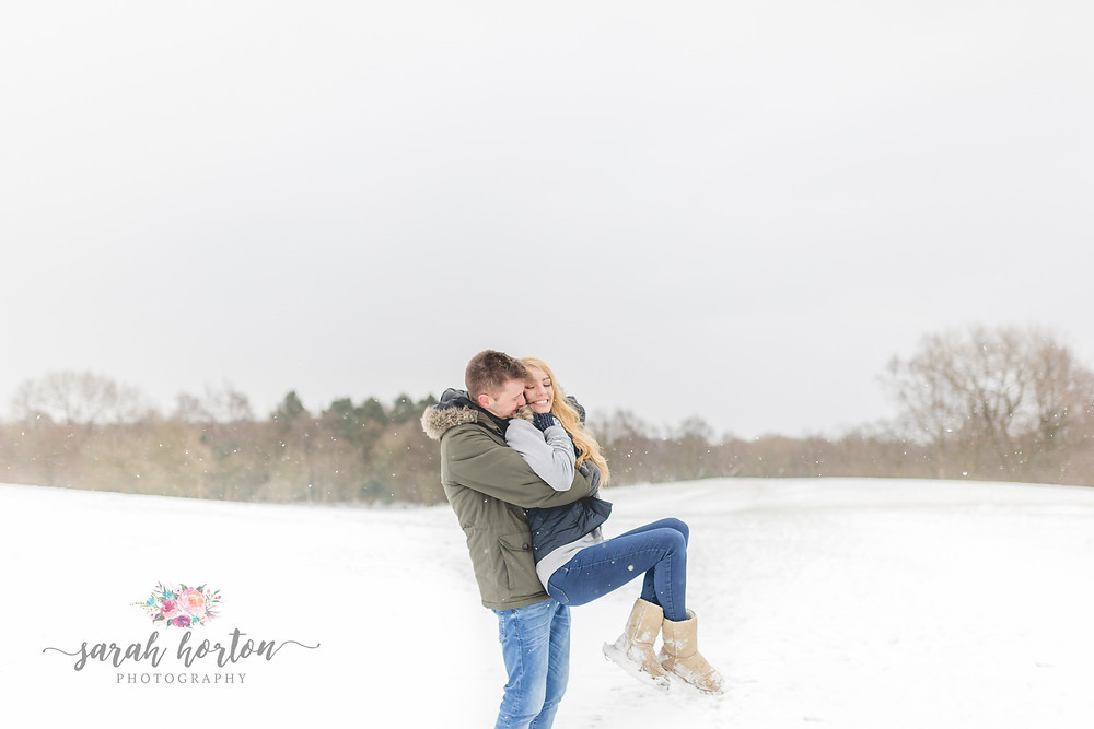 Snow Engagement Shoot Heaton Park - Cheshire Wedding Photography by Sarah Horton