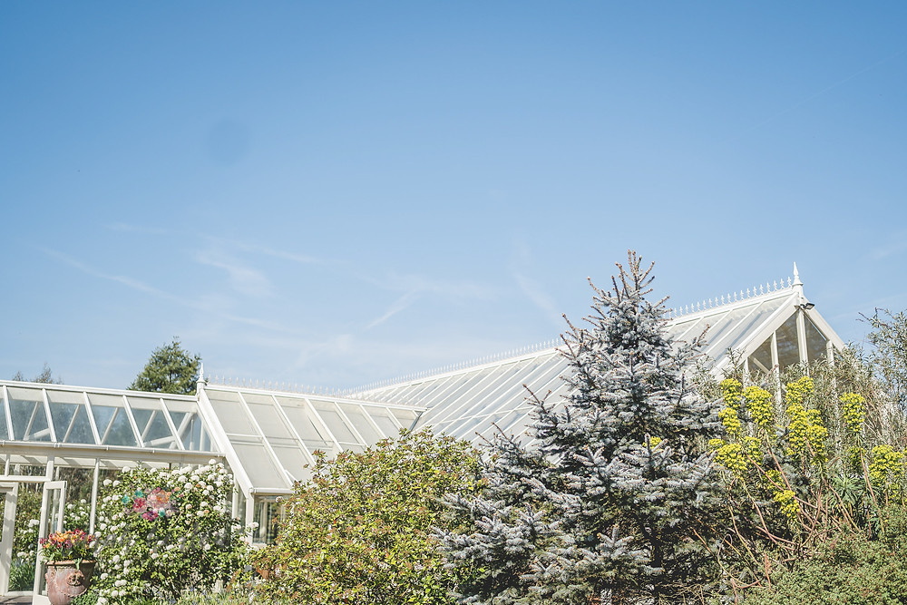 blue skies over the abbeywood estate glass house