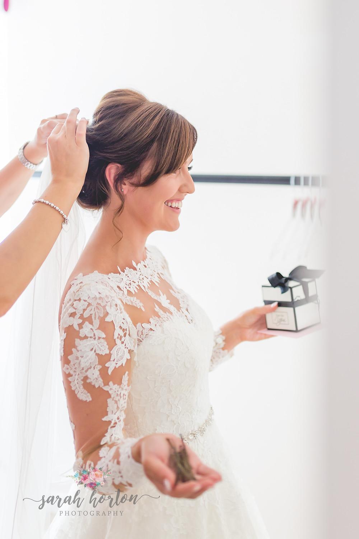 bridal laughing at chester wedding