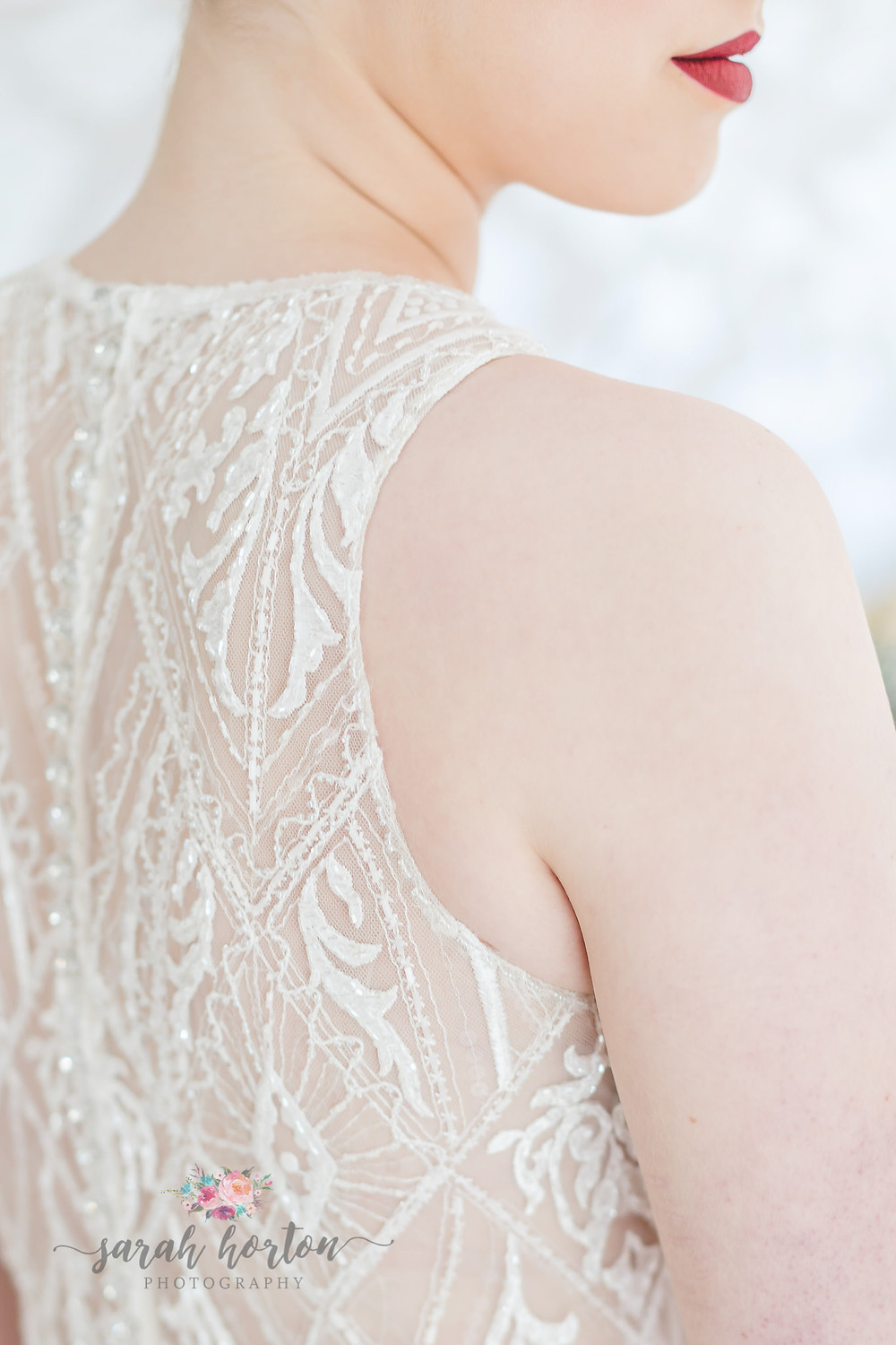 detail on deco style wedding dress