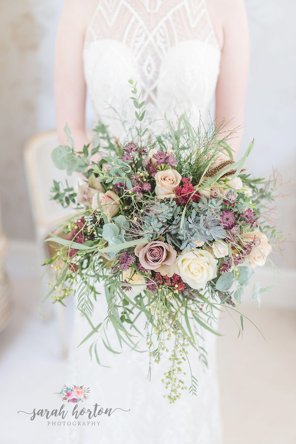large autumnal wedding bouquet at Delamere, Cheshire