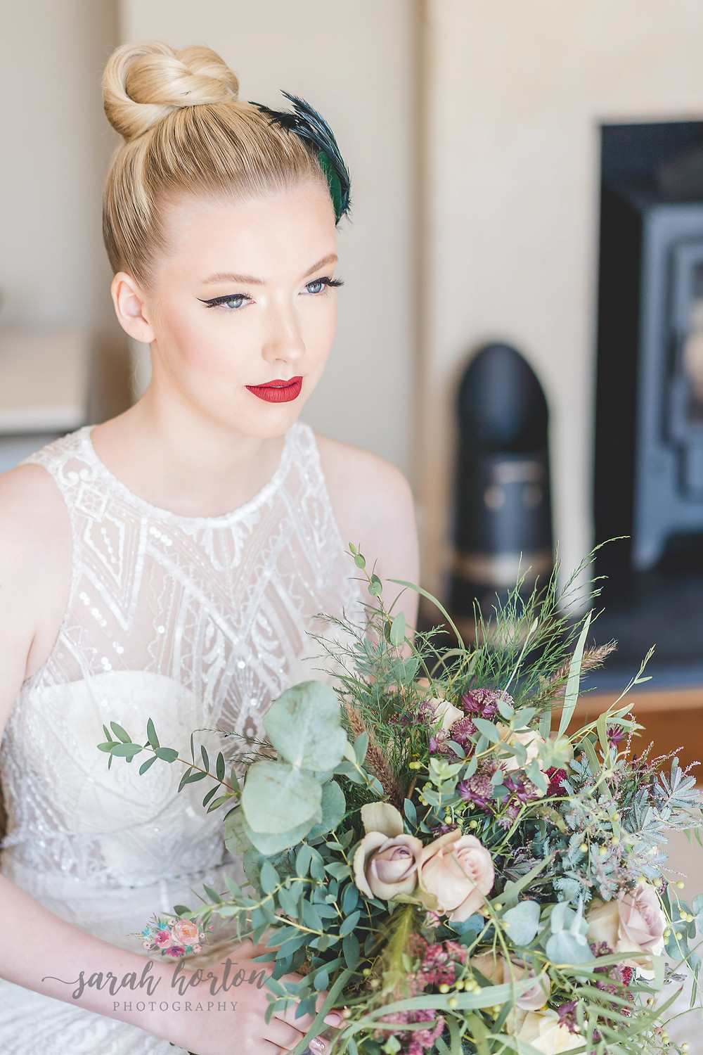 wedding makeup looks by Daniella Robinson with red lipstick