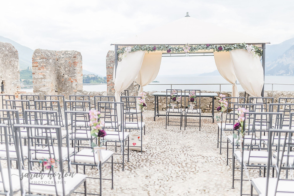 rooftop wedding at malcesine castle, lake garda