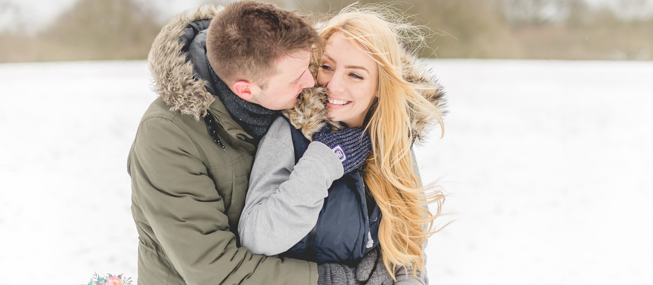 A freezing pre-wedding shoot in the snow at Heaton Park, Manchester