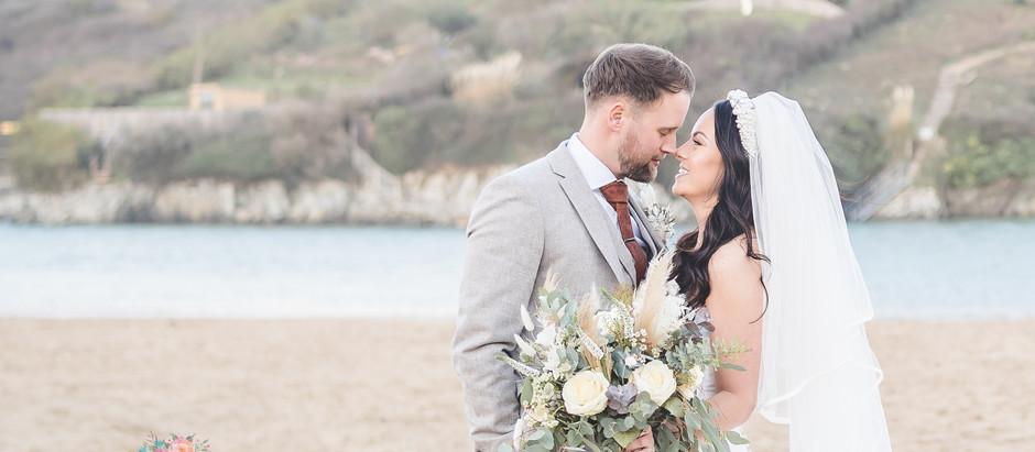 A winter wedding at Crantock Beach, Cornwall
