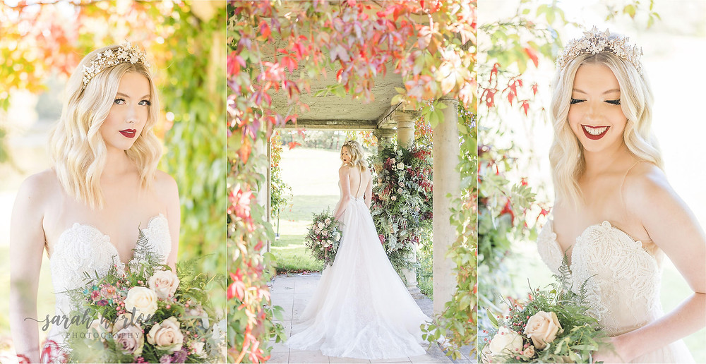 autumnal bridal looks with rose gold crown at Delamere manor