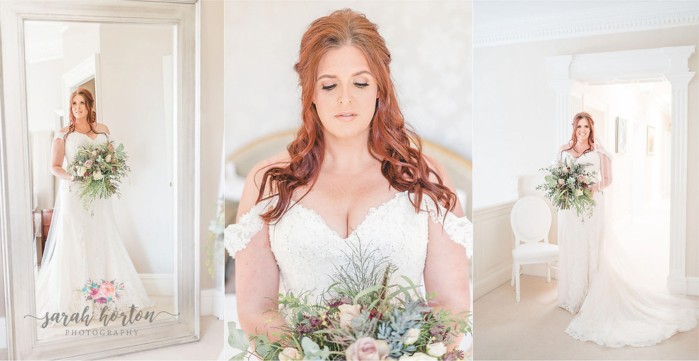 red haired bride photographed with flowers at Delamere manor