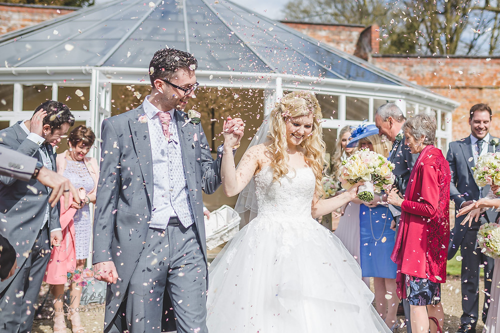 Combermere Abbey Cheshire Wedding Photography Glasshouse Confetti