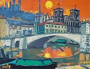 Peinture de Jean Couty, Le pont Bonaparte et Saint-Jean, vers 1985